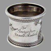 Aesthetic Engraved Bird Napkin Ring Waisted Coin Silver 1880 Mono