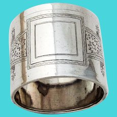 Aesthetic Engraved Napkin Ring Square Reserve Coin Silver No Mono
