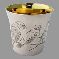 Engraved Bird Beaker Cup Gilt Interior International Sterling Silver