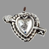 Key To My Heart Medallion Christmas Ornament Reed Barton Sterling Silver