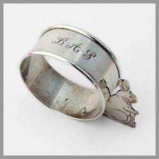 Figural Rabbit Napkin Ring Webster Sterling Silver Mono BAS