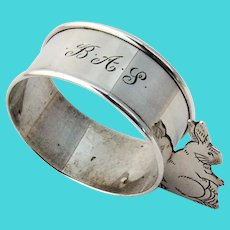 Figural Rabbit Napkin Ring Webster Sterling Silver Mono BAS