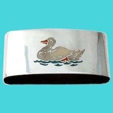 Enamel Duck Oval Napkin Ring International Sterling Silver