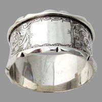 English Engraved Napkin Ring Figural Rims John Thompson Sterling Silver 1942