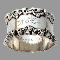 Ornate Scroll Rim Napkin Ring Towle Sterling Silver 1900 Mono WEA
