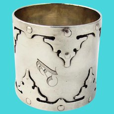 14th Century Large Napkin Ring Shreve Sterling Silver 1910 Mono A