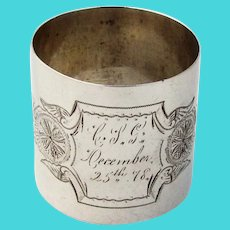 Gorham Engraved Large Napkin Ring Sterling Silver 1877 Mono CSG Christmas