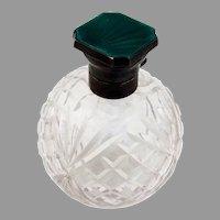 English Cut Glass Cologne Bottle Green Enamel Lid Sterling Silver 1930