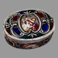 Austrian Export Silver Oval Box Painted Scenes Enamel Gilt Interior 1900s