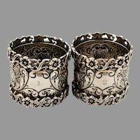 English Ornate Openwork Napkin Rings Pair Josiah Williams Sterling Silver 1898