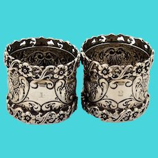 English Ornate Openwork Napkin Rings Pair Josiah Williams Sterling Silver 1898