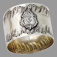 Louis XVI Style Napkin Ring French 950 Sterling Silver Mono ED