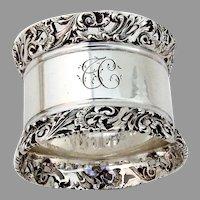 English Pierced Scroll Rim Napkin Ring Atkin Bros Sterling Silver 1898 TC
