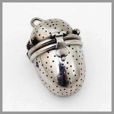 Austrian Oval Form Tea Ball Figural Clasp 800 Silver 1900