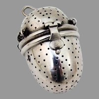 Austrian Oval Form Tea Ball Figural Clasp 800 Silver 1900