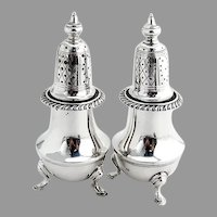 Early American Reproduction Salt Pepper Shakers Set Redlich Sterling Silver