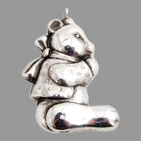 Teddy Bear Christmas Ornament Pendant RM Trush Sterling Silver 1980