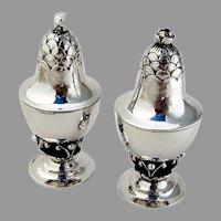 Georg Jensen Blossom Salt Pepper Shakers Set Sterling Silver 1915 Denmark