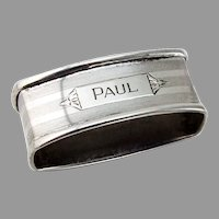 Art Deco Oval Napkin Ring Webster Sterling Silver Mono Paul