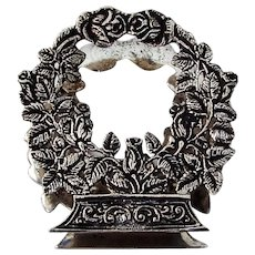 Floral Wreath Form Napkin Letter Holder 800 Silver Italy