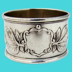 English Large Napkin Ring Foliate Shield Arthur Carter Sterling Silver 1900