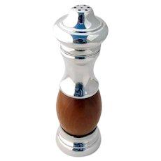 Italian Salt Shaker Pepper Grinder Olive Wood Luigi Genoni Sterling Silver