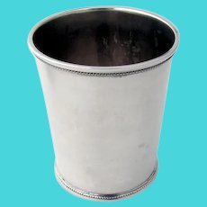Beaker Julep Cup Applied Beaded Borders Coin Silver 1854
