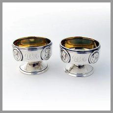 Medallion Open Salts Pair Gilt Interior Gorham Coin Silver Mono LOH