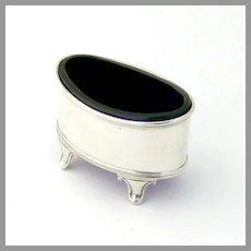 English Oval Open Salt Cobalt Glass Liner Haseler Sterling Silver 1919