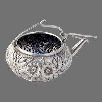 Kirk Repousse Tea Strainer Basket Teapot Form Sterling Silver 1900