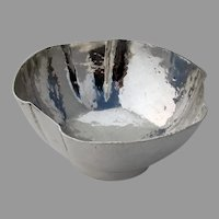 Arts And Crafts Handwrought Footed Bowl Selvage Sterling Silver