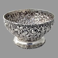 Stieff Rose Footed Serving Bowl Ornate Rims Sterling Silver Mono MWN 1903