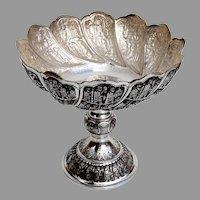 Repousse Figural Assyrian Motif Pedestal Bowl 875 Silver 1950