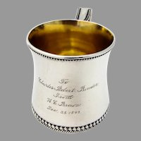Beaded Baby Childs Cup Gilt Interior Towle Sterling Silver 1899 Christmas Mono
