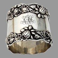 Gorham Pond Lily Large Napkin Ring Sterling Silver 1900 Mono KAH