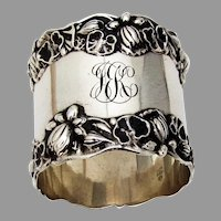 Pond Lily Large Napkin Ring Gorham Sterling Silver 1900 Mono JEK