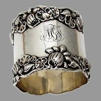 Gorham Pond Lily Large Napkin Ring Sterling Silver 1900 Mono MGF