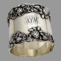 Gorham Pond Lily Large Napkin Ring Sterling Silver 1900 Mono SPM