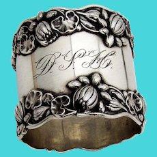 Pond Lily Large Napkin Ring Gorham Sterling Silver Mono DSH 1905