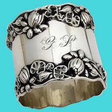 Pond Lily Large Napkin Ring Gorham Sterling Silver Mono GS 1900
