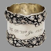 Gorham Pond Lily Large Napkin Ring Sterling Silver Mono HBW Jr 1920
