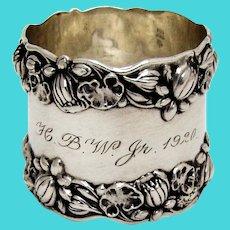 Gorham Pond Lily Large Napkin Ring Sterling Silver Mono HBW Jr 1920