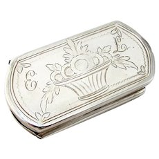18th Century Spanish Silver Tinder Box Engraved Double Compartment Mono EL