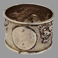 Chinese Export Silver Dragon Napkin Ring Medallion Mono Romaine