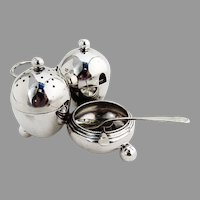 English Victorian Condiment Set Mappin Webb Sterling Silver 1901 Sheffield