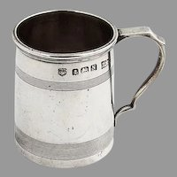 English Mug Form Shot Cup Edward Barnard Sterling Silver 1937