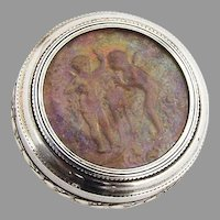 French Round Pill Box Cherub Intaglio Gilt Interior 950 Sterling Silver