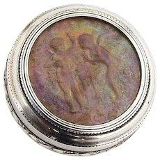 French Round Pill Box Cherub Intaglio Gilt Interior 950 Sterling Silver