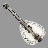 Figural Mandolin Form Pill Box Sterling Silver 1940