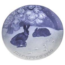 Bing Grondahl Hare In The Snow Christmas Plate 1920 Porcelain Denmark